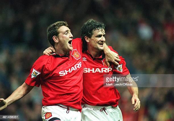 29 October 1994 FA Premiership Manchester United v Newcastle United Steve Bruce and Mark Hughes celebrate a goal for Man United