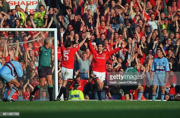 15 October 1994 FA PREMIERSHIP Manchester United v West Ham United Joy for Manchester United goalscorer Eric Cantona as he celebrates with Lee Sharpe...