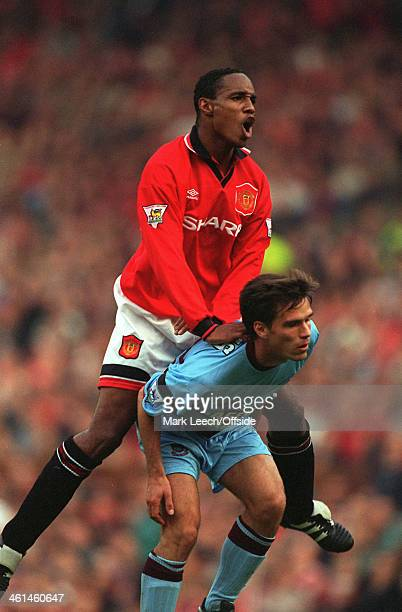 15 October 1994 Premiership football Manchester United v West Ham Paul Ince jumps above West Ham defender Steve Potts