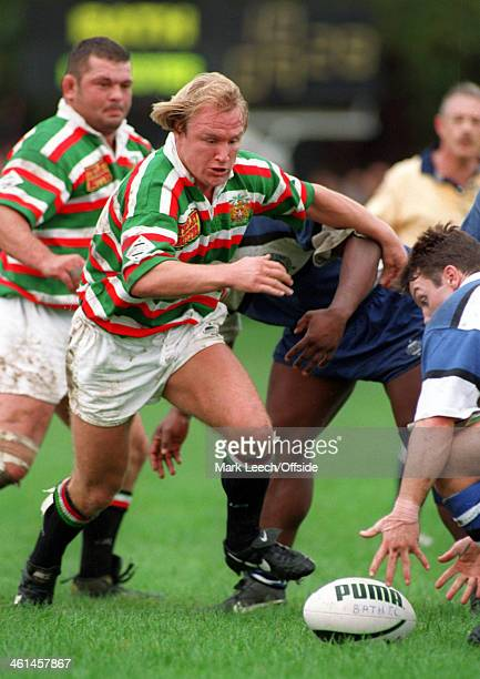 October 1994 Rugby Union League Division One - Bath v Leicester, Neil Back races to gather the loose ball for Leicester.
