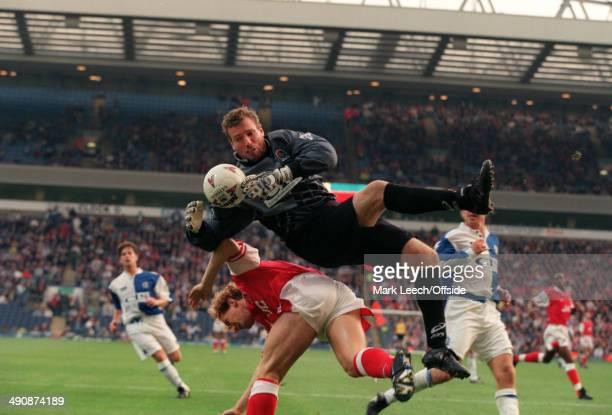 12 October 1996 Premiership Blackburn Rovers v Arsenal Blackburn goalkeeper Tim Flowers is fouled by Ray Parlour of Arsenal