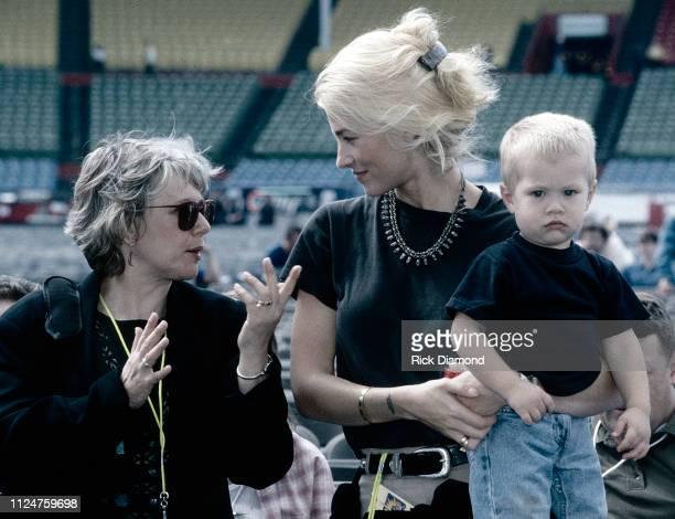 Supermodel Elaine Irwin Mellencamp and Son Hud Mellencamp backstage during Farm Aid at William Brice Stadium in Columbia SC on October 12 1996
