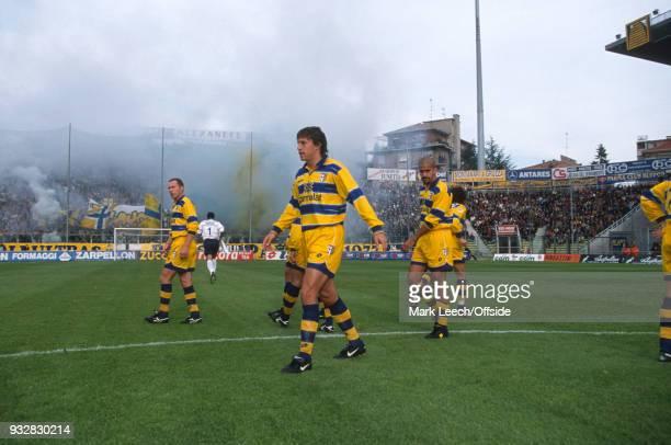 October 1998 Parma, Serie A - Parma v Fiorentina - Hernan Crespo of Parma and his team walk out at the Stadio Ennio Tardini