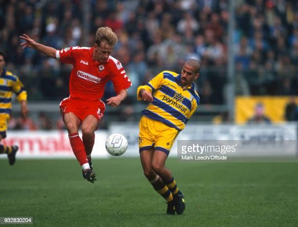 31 October 1998 Parma Serie A Parma v Fiorentina Jorg Heinrich of Fiorentina and Juan Sebastian Veron of Parma
