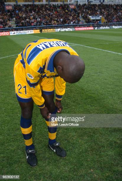 31 October 1998 Parma Serie A Parma v Fiorentina Lilian Thuram pulls up his socks before the match