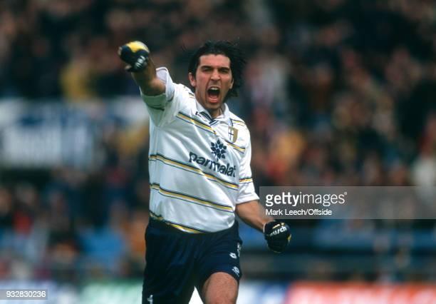 October 1998 Parma, Serie A - Parma v Fiorentina - Parma goalkeeper Gianluigi Buffon celebrates