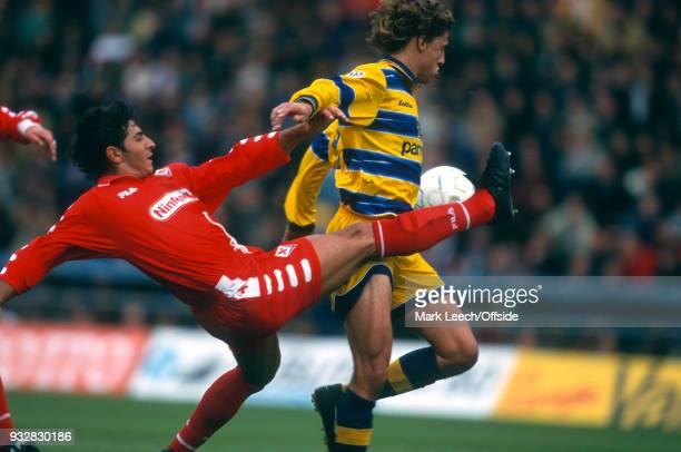 31 October 1998 Parma Serie A Parma v Fiorentina Pasquale Padalino of Fiorentina tackles Hernan Crespo of Parma