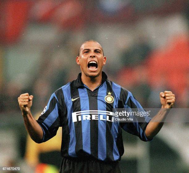 Ronaldo of Inter Milan celebrates during the Champions League match between Inter Milan and Spartak Moscow played at the 'Giuseppe Meazza' in Milan