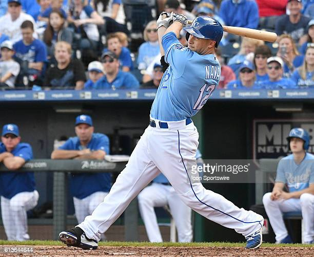 Kansas City Royals first baseman Daniel Nava pinch hits in the ninth inning during a MLB American League Central game between the Cleveland Indians...
