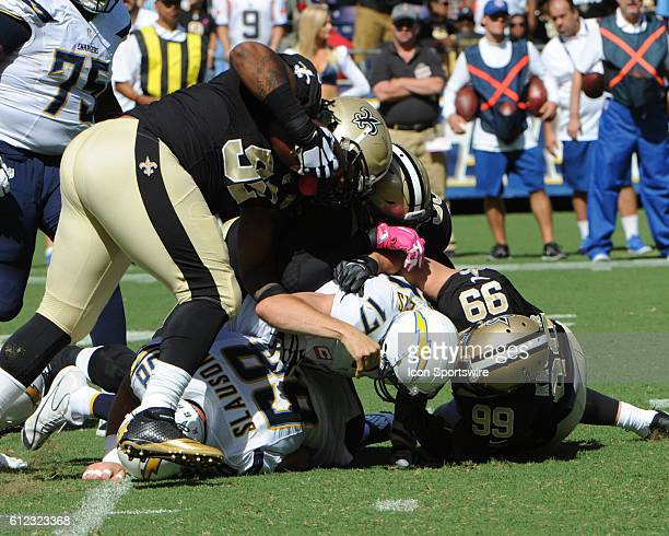October 2 2016 New Orleans Saints Defensive Tackle Sheldon Rankins and New Orleans Saints Defensive Tackle John Jenkins combine to sandwich San Diego...
