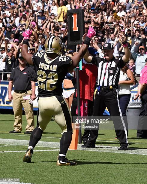 October 2 2016 New Orleans Saints Running Back Mark Ingram celebrates a touchdown during the NFL Football game between the New Orleans Saints and the...