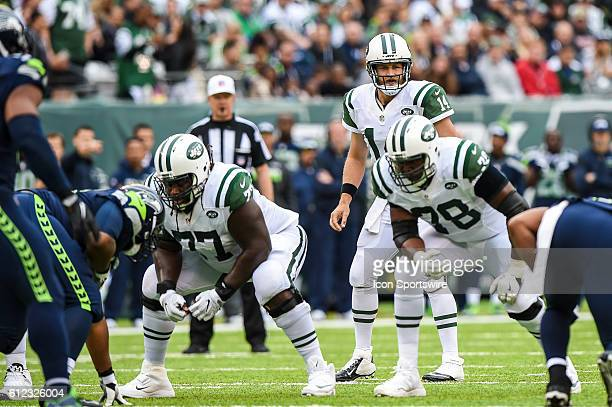 New York Jets Quarterback Ryan Fitzpatrick calls a play at the line of scrimmage during the New York Jets versus the Seattle Seahawks at MetLife...