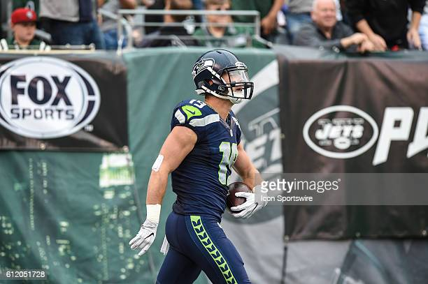 Seattle Seahawks Wide Receiver Tanner McEvoy celebrates after his touchdown catch during the New York Jets versus the Seattle Seahawks at MetLife...
