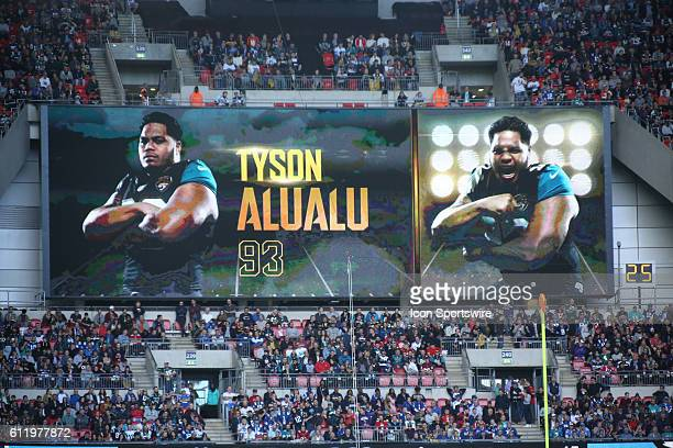 Tyson Alualu shown on the jumbotron during the Jacksonville Jaguars versus the Indianapolis Colts International Series game at Wembley Stadium in...