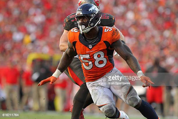 Von Miller of the Broncos during the regular season game between the Denver Broncos and the Tampa Bay Buccaneers at Raymond James Stadium in Tampa...