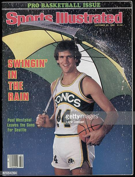October 20 1980 Sports Illustrated Cover Basketball Season Preview Portrait of Seattle SuperSonics Paul Westphal with umbrella 10/2/1980 CREDIT Lane...