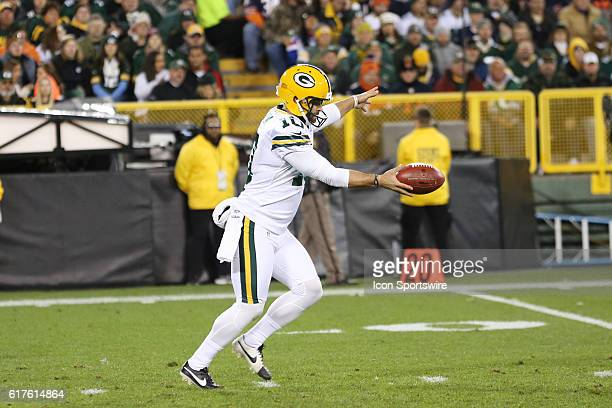 Green Bay Packers Punter Jacob Schum punts during the Green Bay Packers vs Chicago Bears game at Lambeau Field in Green Bay, WI.