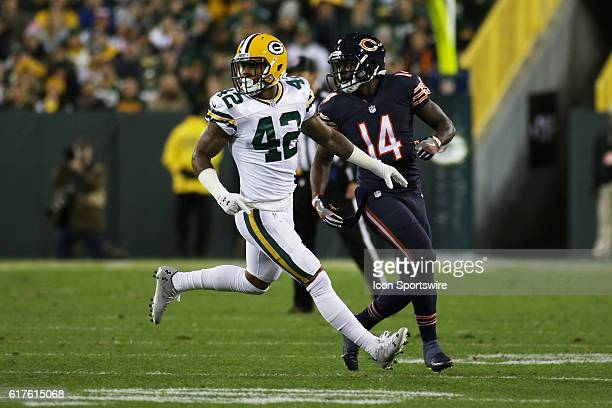 Green Bay Packers Safety Morgan Burnett in coverage during the Green Bay Packers vs Chicago Bears game at Lambeau Field in Green Bay, WI.
