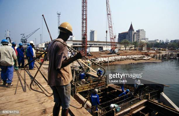 Construction at the fishing port. --- Photo by Louise Gubb/Corbis SABA