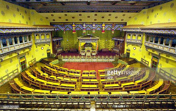 October 2002 photo shows a general view of Bhutan's National Assembly hall in Thimphu The building was orginally built for a South Asian Association...