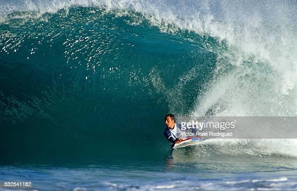 11 October 2004 Hossegor France Professional bodyboarder Manuel Arrarte of Spain in action on the famous beach break of Hossegor France Photo by...