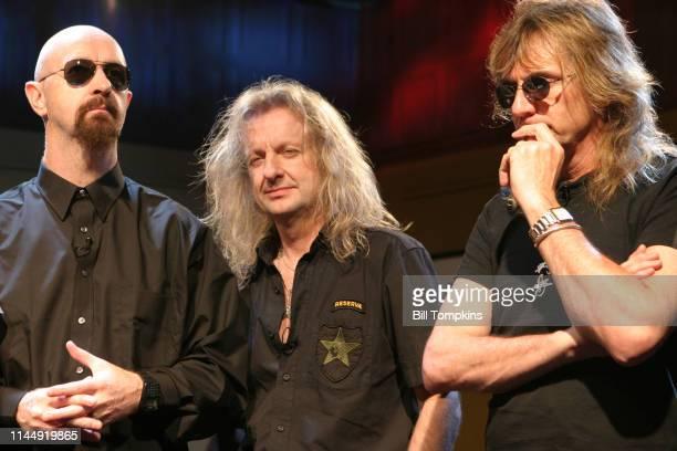 October 2004]: Rob Halford, KK Downing and Glen Tipton of Judas Priest on TV set October 2004 in New York City.