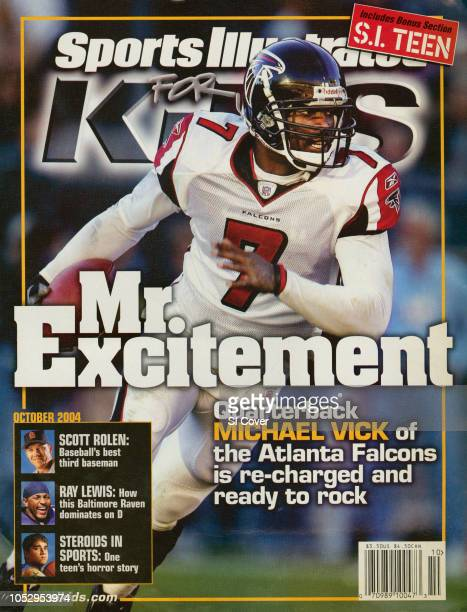 October 2004 Sports Illustrated for Kids Cover Atlanta Falcons QB Michael Vick in action vs Tampa Bay Buccaneers Raymond James Stadium Tampa FL...