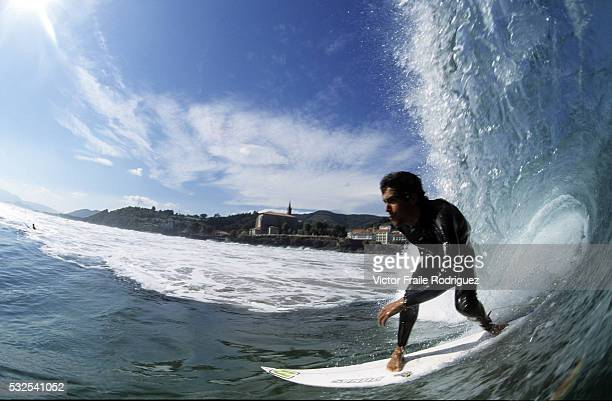 20 October 2005 Mundaka Spain Professional surfer Iker Fuentes of Spain in action at Mundaka northern Spain Photo by Victor Fraile Image by © Victor...