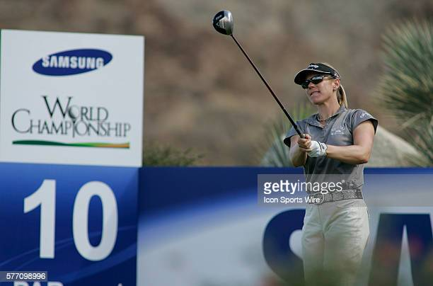 Annika Sorenstam hits a drive on the 10th hole during the second round of the LPGA Samsung World Championship at Big Horn Golf Club in Palm Desert CA