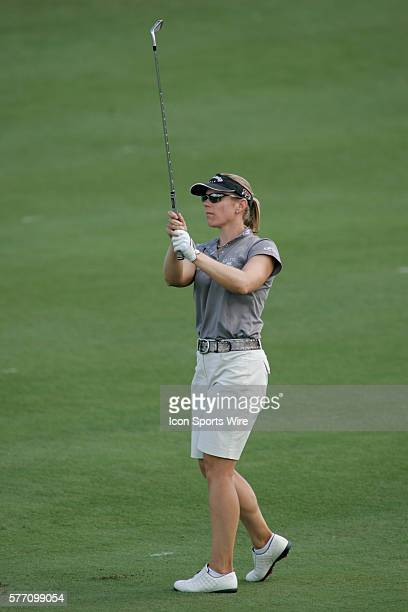 Annika Sorenstam hits an approach shot on the 10th hole during the second round of the LPGA Samsung World Championship at Big Horn Golf Club in Palm...