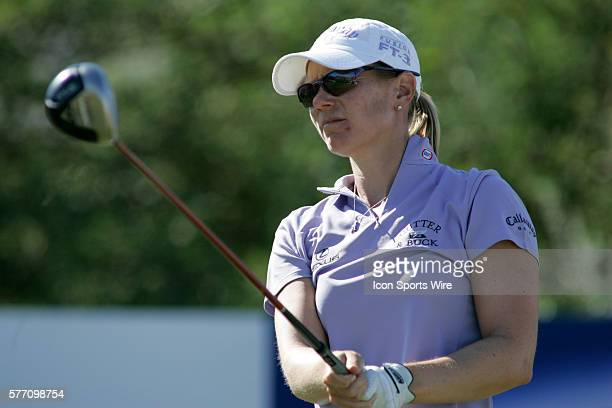 Annika Sorenstam tees off on the 18th hole during the final round of the LPGA Samsung World Championship at Big Horn Golf Club in Palm Desert CA