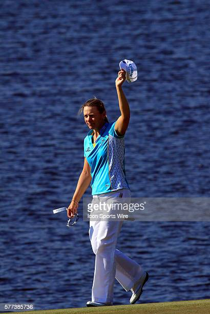 Annika Sorenstam acknowledges the gallery on the eighteenth green during the second round of the ADT Championship on the Trump International Golf...