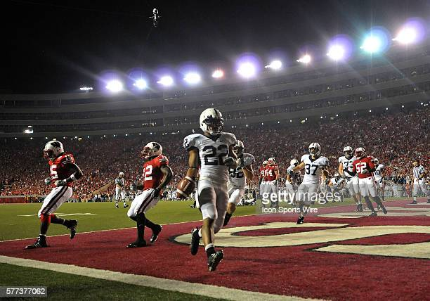 Penn States' Evan Royster scores on a two yard run at 1046 of the second period of play against the Badgers at Camp Randall Stadium Madison Wi where...
