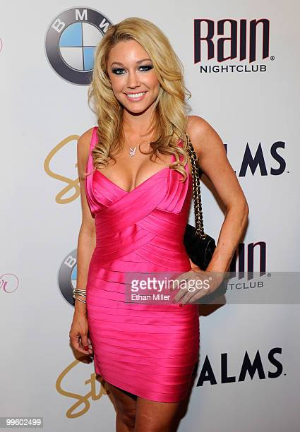 October 2008 Playboy Playmate of the Month Kelly Carrington arrives at a party to introduce model Hope Dworaczyk as the 2010 Playboy Playmate of the...