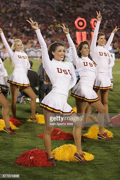 Trojan Song girls Cheerleaders during the NCAA Football game between the Oregon Ducks and the USC Trojans at the Los Angeles Memorial Coliseum in Los...
