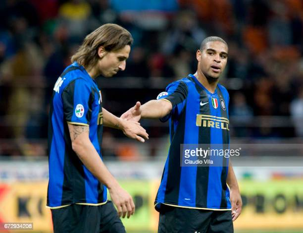 Zlatan Ibrahimovic and Adriano react during the Serie A 20082009 match round 6th between Inter Milan and Bologna at the Giuseppe Meazza stadium in...