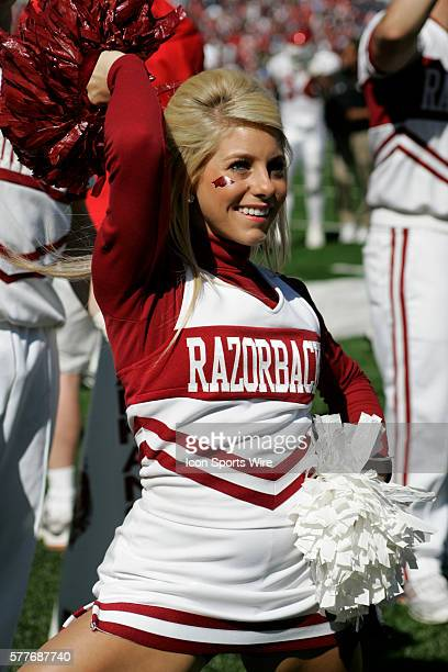 Arkansas cheerleaders root the Razorbacks on during the teams 3017 loss today to the Ole Miss Rebels at VaughtHemingway Stadium in Oxford MS