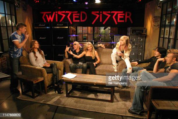 Dee Snider of Twisted Sister on set at AE TV promoting the reality show about his family Pictured with him are his wife and children on October...