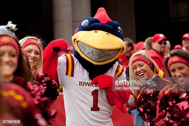 Iowa State mascot Cy and the cheerleaders fired up for the game against Nebraska at Memorial Stadium Lincoln Nebraska Iowa State defeats Nebraska 9...