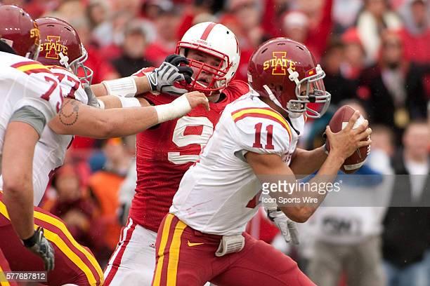 Iowa State quarterback Jerome Tiller trying to elude Nebraska defensive tackle Jared Crick at Memorial Stadium Lincoln Nebraska Iowa State defeats...