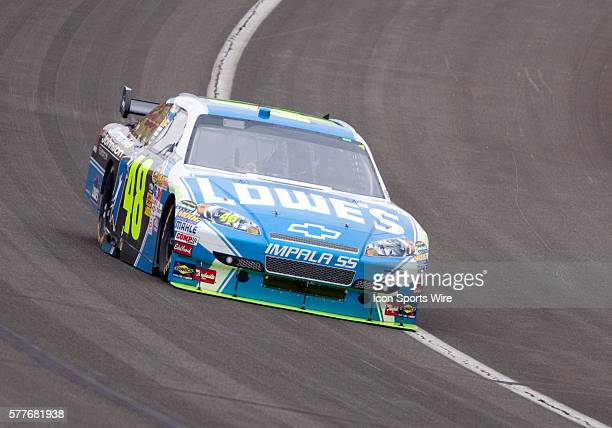 Jimmie Johnson driver of the Lowe's / Jimmie Johnson Foundation Chevrolet during the NASCAR Sprint Cup Series Pepsi 500 at the Auto Club Speedway in...