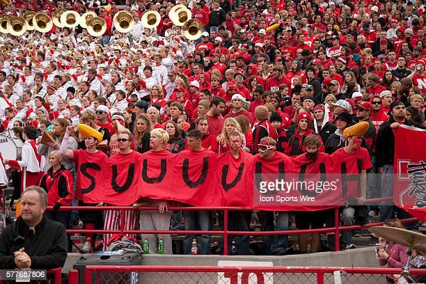 Nebraska fans show their support for defensive tackle Ndamukong Suh during the Iowa State game at Memorial Stadium Lincoln Nebraska Iowa State...