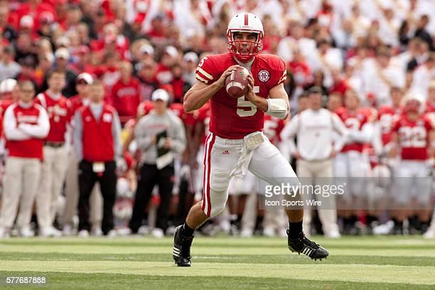 Nebraska quarterback Zac Lee looking to make a pass against Iowa State at Memorial Stadium Lincoln Nebraska Iowa State defeats Nebraska 9 to 7