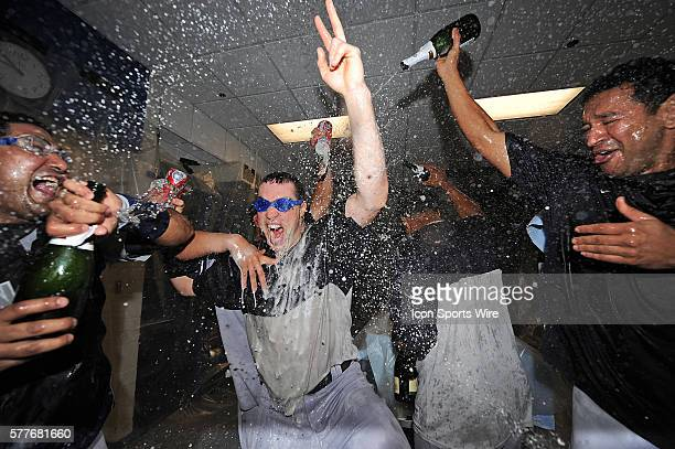 NY Yankees Vs Minnesota Twins Gm3 ALDS The NY Yankees Mark Teixeira gets a champagne shower after the Yankees win 41