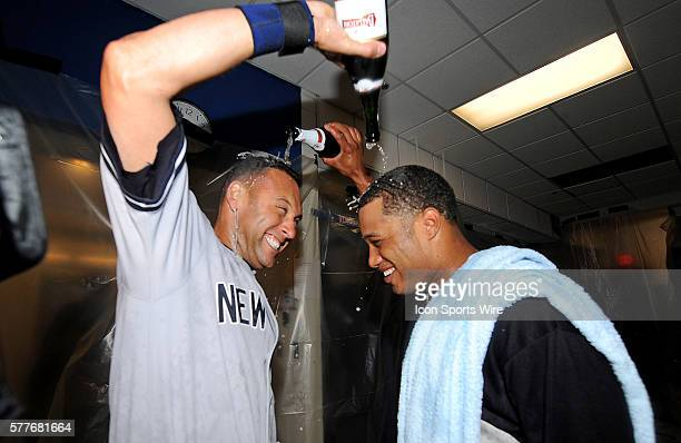 NY Yankees Vs Minnesota Twins Gm3 ALDS The NY Yankees Derek Jeter gets a champagne shower after the Yankees win 41