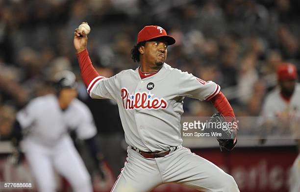 NY Yankees Vs Philadelphia Phillies in game two of the World Series at Yankee Stadium Philadelphia Phillies pitcher Pedro Martinez delivers in the...