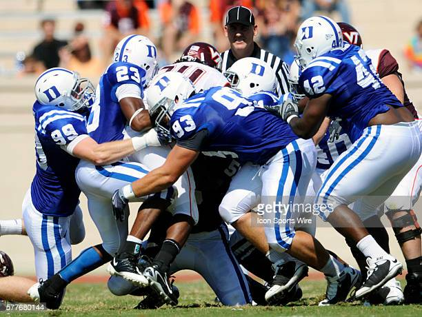 The Duke defense smothers Virginia Tech tailback Ryan Williams during the Virginia Tech Hokies 3426 win over the Duke Blue Devils at Wallace Wade...