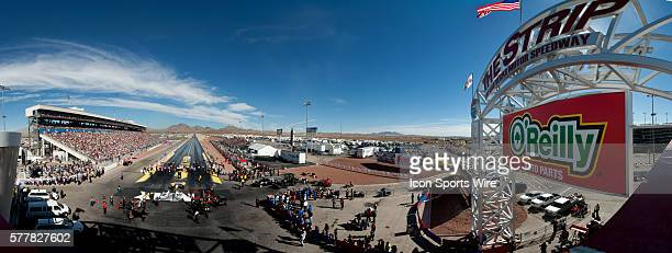A general view of The Strip at Las Vegas Motor Speedway during the first round of Top Fuel Dragster eliminations Las Vegas NV