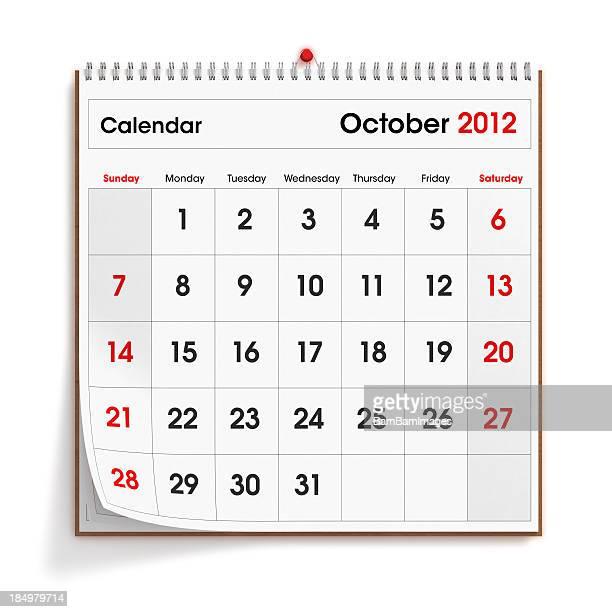 Parede calendário de Outubro de 2012