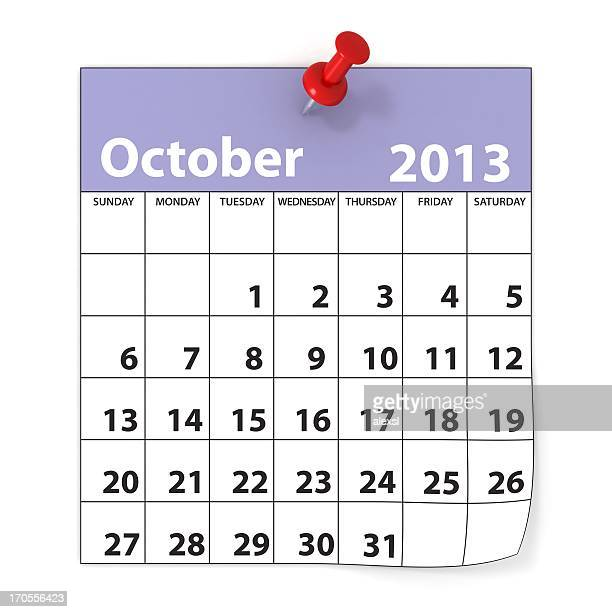 october 2013 - calendar series - october stock pictures, royalty-free photos & images